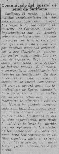 Heraldo de Castellon 12 Abril 1937 Sariñena Guerra