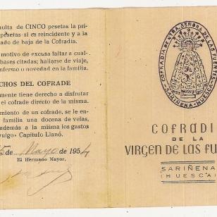Tarjeta cofradía Virgen de las Fuentes