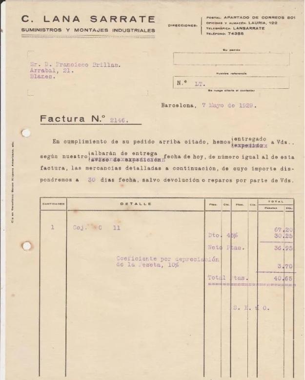 C.Lana Sarrate suministros y montajes industriales.Barcelona 1929