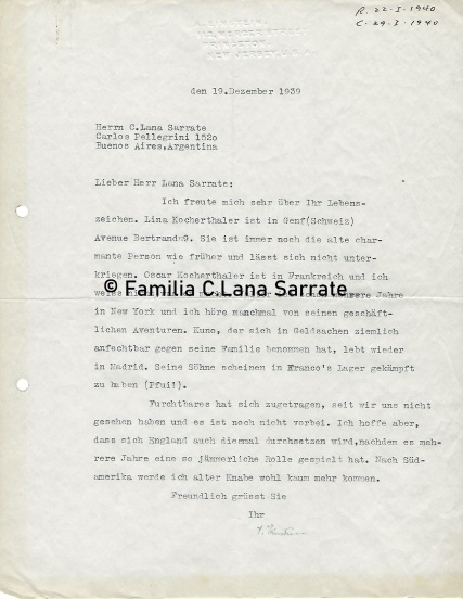 Carta de Einstein a Casimiro Lana Sarrate
