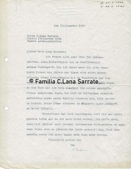 Carta de Einstein a Casimiro Lana Sarrate