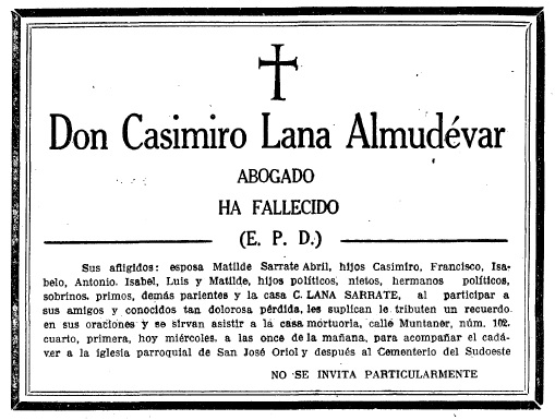 esquela Casimiro Lana Almudevar