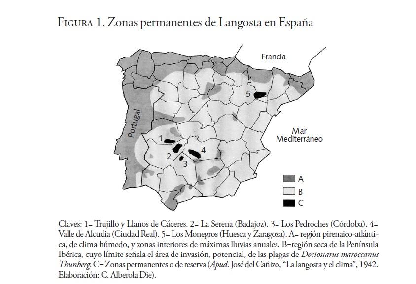 Zonas permamemtes de Langostas en España